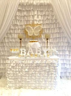 Angelic heaven themed baby shower party! See more party planning ideas at CatchMyParty.com!