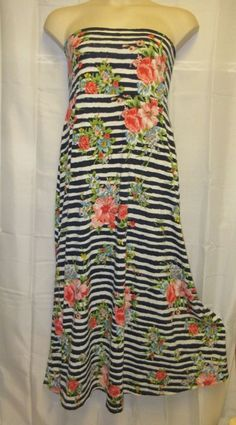 Pure Energy Dress 3 3x 22 24 Strapless Tube Maxi Stripe Floral Long Stretch  #Pureemergy #Maxi #Casual