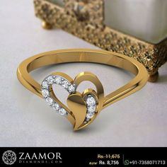 Mens Gemstone Rings, Unique Diamond Rings, Gold Ring Designs, Gold Earrings Designs, Heart Jewelry, Gold Jewelry, Jewellery Rings, Gold Finger Rings, Gold Rings