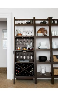 Sawyer Mocha Leaning Wine Bar | Crate and Barrel