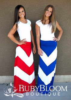 Perfect for the 4th of July! Convertible maxi dress/skirt in patriotic colors! |  $32.00 | http://shoprubybloom.com/collections/bottoms/products/wide-chevron-maxi-skirts-red