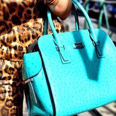 turquoise Michael Kors satchel. Love! ❤