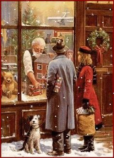 A couple of Christmas shoppers stop to look through the toy store window. (GIF)