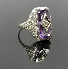 Gorgeous White Gold Art Deco Filigree Amethyst with by MSJewelers, $465.00