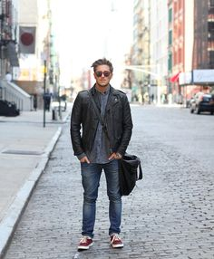 The Giant rocking Noodles Stix in New York Playing Dress Up, Noodles, Bomber Jacket, Menswear, York, People, Jackets, How To Wear, Dresses