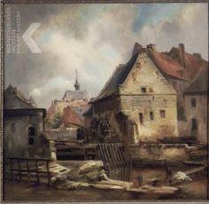 Gezicht op de huizen en de watermolen op de hoek Grote en Kleine Looierstraat met de Waalse Kerk op de achtergrond