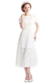 YIGELILA New Women White Embroidered Short Sleeve Long Ca... http://a.co/hj72N1w