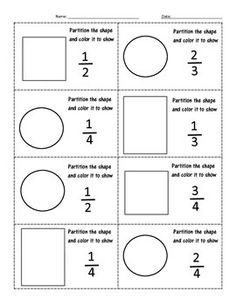 This worksheet was created to assess my students understanding of fractions. It asks them to partition shapes, color fractions and write fractions. 3rd Grade Fractions, 3rd Grade Math Worksheets, Teaching Fractions, Fractions Worksheets, Second Grade Math, Math Fractions, Teaching Math, Fractions Of Shapes, Number Worksheets