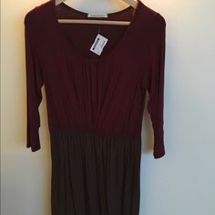 Adorable Jersey Dress Burgundy top and brown skirt in a super comfy material. New with tags! Color Me Red Dresses Long Sleeve