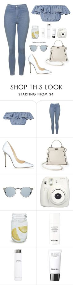 """""""Untitled #672"""" by owl00 ❤ liked on Polyvore featuring MDS Stripes, Topshop, Jimmy Choo, Fendi, Oliver Peoples, Fallon, Fujifilm, Sur La Table, Chanel and Calvin Klein"""