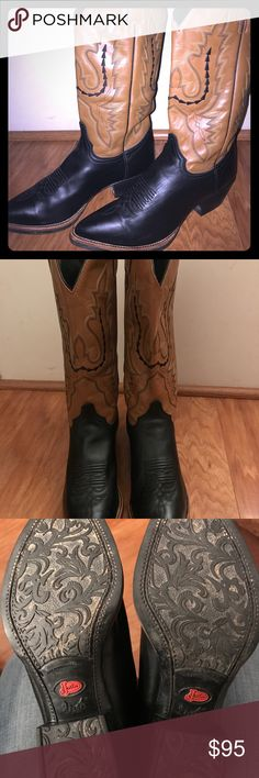 Women's Justin Western Boots Black/Tan Square snip toe. Decorative stitching that will look great with your favorite dress. Boots only worn a couple of times, like new condition. Justin Boots Shoes Heeled Boots