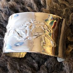 One of a kind solid sterling silver of a horse cast with the lost wax method by Marcela Ganly Lost Wax Casting, Sterling Silver Bracelets, Belt Buckles, Cuff Bracelets, Cuffs, Horses, Jewelry, Jewlery, Arm Warmers