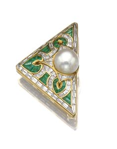NATURAL PEARL, EMERALD AND DIAMOND BROOCH, BULGARI. The triangular brooch applied with a trefoil motif set with a button-shaped natural pearl, calibré cut emeralds, baguette and tapered baguette diamonds, mounted in gold, signed Bulgari, Italian assay marks.