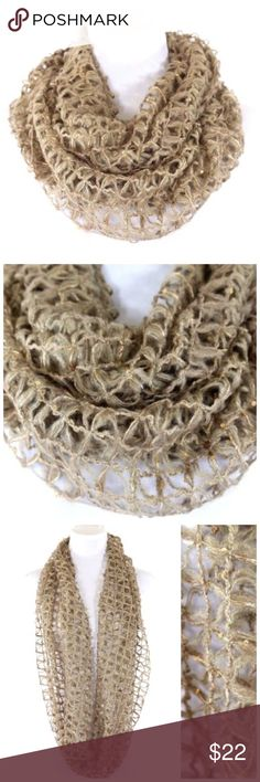 Spotted while shopping on Poshmark: B60 Beige Metallic Gold Open Weave Infinity Scarf! #poshmark #fashion #shopping #style #Accessories