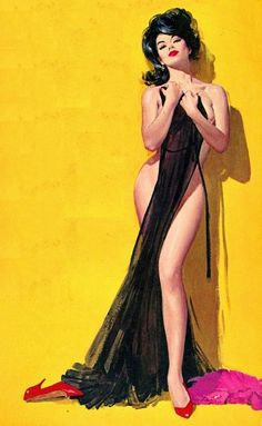 """This is one of those paintings where the cover captures the meaning of the title of the book. She was on """"Brazen Seductress"""" by Hank Janson."""