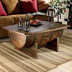 #DIY Oak Barrel Coffee Table - absolutely love this