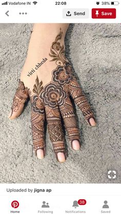 Rose Mehndi Designs, Finger Henna Designs, Henna Art Designs, Mehndi Designs For Girls, Stylish Mehndi Designs, Mehndi Designs For Beginners, Dulhan Mehndi Designs, Mehndi Design Pictures, Wedding Mehndi Designs