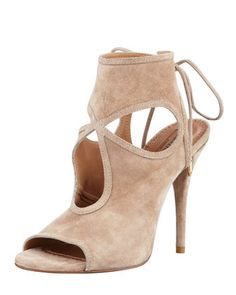 Sexy Thing Suede Cutout Sandal, Nude by Aquazzura at Neiman Marcus.