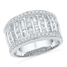 1.00 CT. T.W. Diamond Multi-Row Anniversary Band in 10K White Gold   View All Wedding   Wedding   Peoples Jewellers