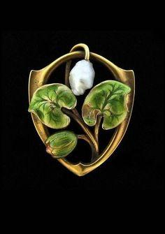 Antique art nouveau bippart griscom & osborn 14k gold enamel pearl brooch pin.