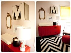 black white and red nursery