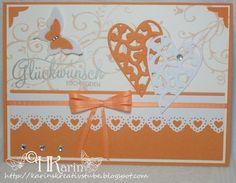 """Karins Kreativstube: Hochzeit """"Swirls"""" orange Blog, Orange, Cards, Creative, Wedding, Blogging"""