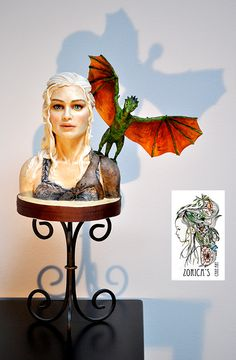 Fantasy/Gothic/Fairytale - Daenerys Targaryen bust  I made this bust as a reference, practice piece. Khaleesi made from modeling chocolate. The head has a styrofoam base, there is a center dowel, and I bulked up the torso with aluminium foil. If it's an order I would use rkt instead. The dragon has a whole wire armature, sculpted from modeling chocolate. The wings are made from wafer paper, I used piping gel to stick them to the armature. Modeling chocolate works beautifully together with…