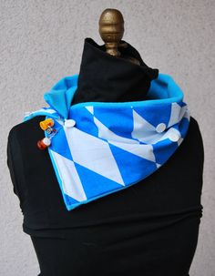 Bavarian Scarf With Buttons and Beer Charms Oktoberfest Accessory