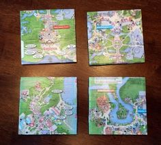 Great souvenir from your Disney Vacation that you can make yourself! Easy DIY Disney map coasters! | Disney crafts
