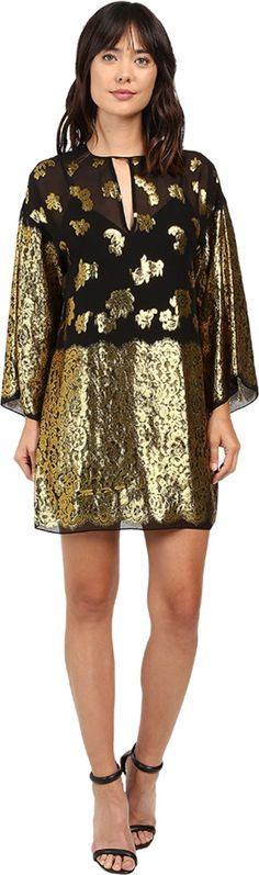 Rachel Zoe Women's Iris Dress Black/Gold Shirt. Rachel Zoe Size Chart. Flashing gold silk gives a stunning look to this Rachel Zoe™ Iris Dress. Relaxed shift silhouette. Keyhole with button closure at back. Long flowering sleeves. Round neckline with keyhole cutout at front. Straight hemline. Removable tank lining. Shell: 74% silk, 26% metallic polyester;Combo: 100% silk;Lining: 100% polyester. Dry clean only. Imported. Measurements: Length: 35 in Product measurements were taken using…