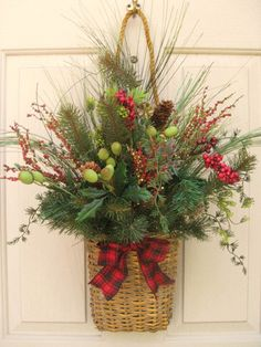 Holiday Berries and Pine Wall Basket Christmas Door Wreath