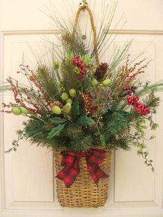 Holiday Berries and Pine Wall Basket Christmas Door Wreath