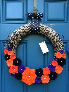 Decorative Wreath- Chevron Print Halloween