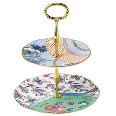 Wedgwood Butterfly Bloom 2-Tier Cake Stand Gift Boxed - 091574216522 - NIB