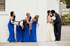 Bride and groom and bridesmaids photo idea