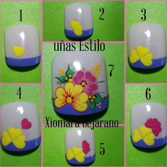 Cute flower toe nail art step by step Flower Nail Designs, Diy Nail Designs, Manicure, Diy Nails, Flower Toe Nails, Kawaii Nails, Toe Nail Art, Almond Nails, Diy And Crafts