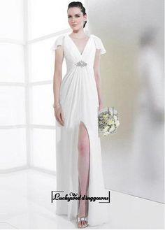 Attractive Chiffon & Satin Sheath V-neck Slit Wedding Dress