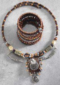 Necklace~Ethnic Tribal Wooden Bead Wrapround Hippy Necklace~NK278 By Namaste & Folio Gothic Hippy