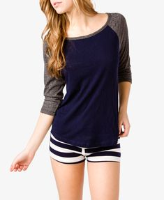 Raglan Top & Striped Shorts PJ Set | FOREVER21 - 2021839392