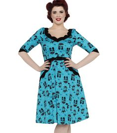 Voodoo Vixen Cats in the Rain Swing Dress Blue - The Atomic Boutique  - 1