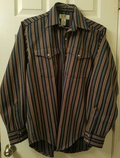 EUC MENS DRYSDALES WESTERN PEARL SNAP RODEO COWBOY CANVAS COTTON L/S SHIRT MED #Drysdales #Western