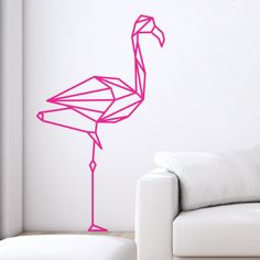 Sticker mural flamant rose géométrique en origami