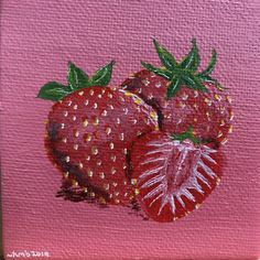 "Des fraises 🍓   Acrylic on canvas board - a tiny painting 3x3"" 🥰 I can't wait for strawberries this summer!!   #art #canadianartist #novascotiaartist #queerartist #artwitch #artistsoninstagram #makemindfulart #artist #arttherapy #acrylicpainting #artistsofinstagram"