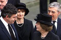 Margaret Thatcher attending the funeral of Queen Elizabeth the Queen Mother in 2002