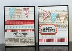 Simple, cute birthday card.  Love using pages from an old book!