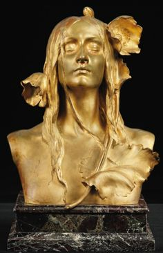 Maurice Bouval gilt bronze Art Nouveau Ophelia bust. c. 1900. 16 inches h. Christie's London. May 3, 2012, $48,540