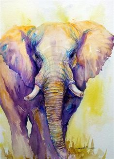 "Daily Paintworks - ""Elephant in Purple"" - Original Fine Art for Sale - © Arti Chauhan"