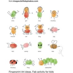 Illustration Enfant fingerprint art for kids - Projects For Kids, Diy For Kids, Crafts For Kids, Arts And Crafts, Craft Kids, Fingerprint Heart, Fingerprint Jewelry, Fingerprint Crafts, Thumb Prints
