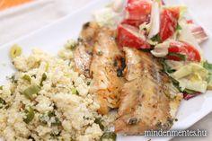 Gyorsan pácolt tengeri hal zöldfűszeres kölessel Grains, Gluten, Rice, Minden, Vegan, Chicken, Food, Essen, Meals