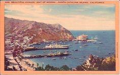 Avalon Bay Moon SANTA CATALINA ISLAND California Vintage Linen Postcard